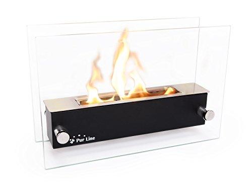 PURLINE NYX CRISTAL - Biocamino da tavolo in acciaio inox e vetro temperato