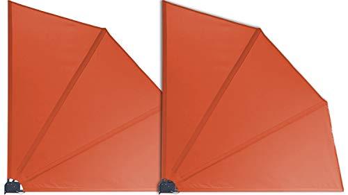GRASEKAMP Qualität seit 1972 2 Stück Balkonfächer 120 x 120 cm Terra mit Wandhalterung Trennwand Sichtschutz