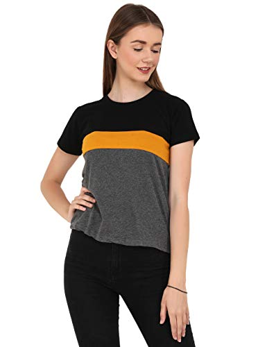 Reifica Women Tshirt Combo Pack of 2   Regular Fit Half Sleeves Round Neck Cotton Tops Combo for Women/Girls (Black_White_Maroon-Black_Mustard_Darkgrey, Small)