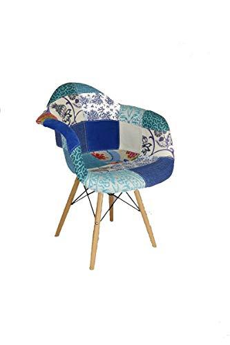 Verone Mobili Sillón Modelo Laika con Patas de Madera y tapizada a Mano en Patchwork