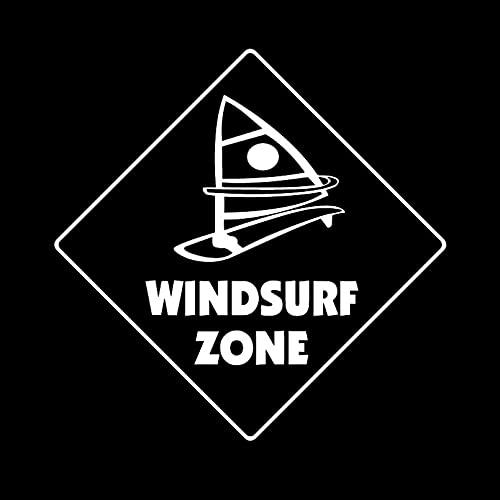 KDEQT Sticker De Carro 15,6 Cm * 15,6 Cm Windsurf Crossing Sign Zone Vinilo Calcomanía Decoración del Maletero del Coche Pegatinas De Coche Negro/Plateado