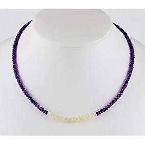 Amethyst kette mit Opal,edelsteinkette,facettiert,Collier,Halskette,Lila,Damen
