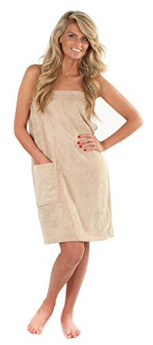 VEAMI Women's Spa Wrap Towel with Snap Closure -Morocco Dessert-Medium/Large