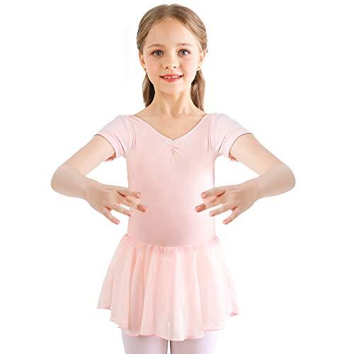 Bezioner Vestido de Ballet Maillot de Danza Gimnasia Leotardo Algodón Body Clásico para Niña Rosa 110