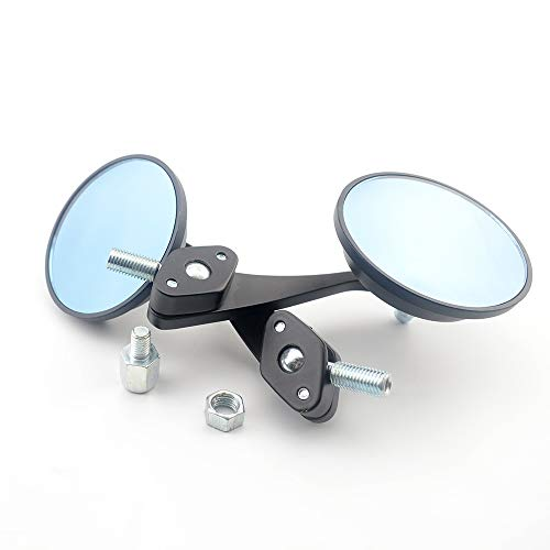 NO LOGO WSF-Review-Spiegel, 2 Stück Universal-Folding Spiegel E-Bike Scooter 8 & 10 Mm Adapter Side Rear-View Cafe Racer Runde Motorrad Chopper Cruiser Spiegel