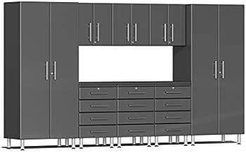 Ulti-MATE UG22091G 9-Piece Garage Cabinet Kit with Channeled Worktop in Graphite Grey Metallic