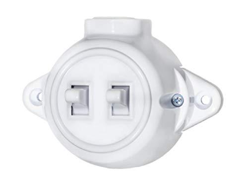 Carcasa de enchufe de pared vintage, interruptor de luz, redondo, retro, con interruptor, interruptor en serie, blanco