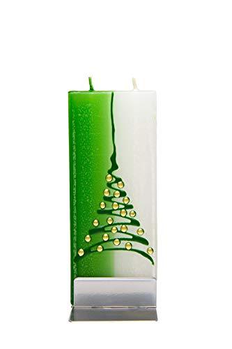 flatyz Flache besondere Kerzen Weihnachtsbaum grün und weiß. Handgemacht, geruchsneutral. Kerzen Lange brenndauer 3-4 Stunden, 60x10x150mm. Perfekt als besonderes Geschenk, Kerzen deko.
