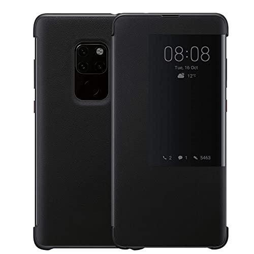 Handyhülle für Huawei Mate 20, Luxus PU Leder, Zum Aufklappen, Verhindert Fallenlassen & Praktische, Intelligente Fensteröffnung, Mate20 Superdünne Flip Schutzhülle(Mate20,Schwarz)