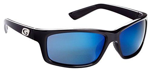 Guideline Eyegear Surface Polarized Bifocal Sunglasses with Deep Six Blue Mirror/Deepwater Grey Lens, Shiny Black Frame (+2.50)
