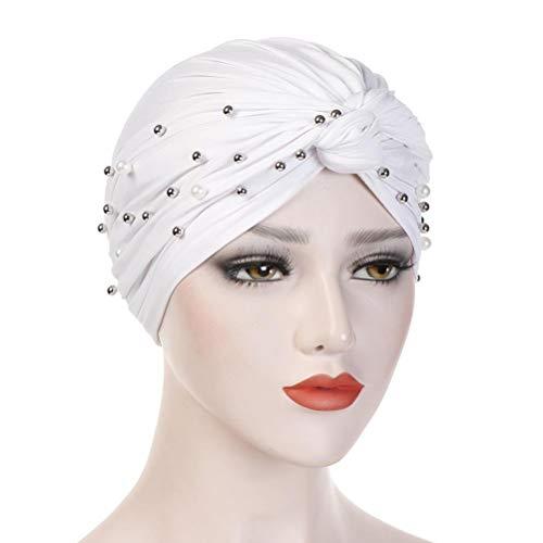 Gorro clásico, ligero y suave, gorro de punto Eid Mubarak en 3 colores, para mujeres, con nudo de moda, plisado, turbante