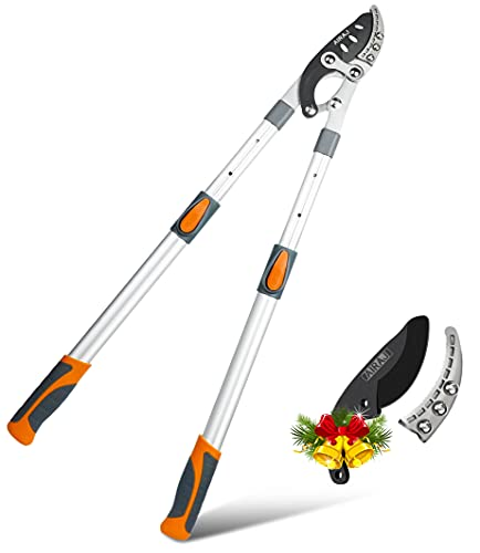 AIRAJ Extendable Anvil Loppers,27.5'–41' Heavy Duty Garden Pruners Lopper with SK5 Sharp Replaceable Blade,Tree Pruner Shears for Cutting 2 in Thick Branches Capacity