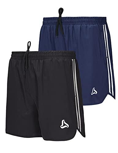 SILKWORLD Mens 5 Inch Inseam Shorts Fitness Training Athletic with Zipper Pockets (Pack of 2),Black + Navy Blue,Medium