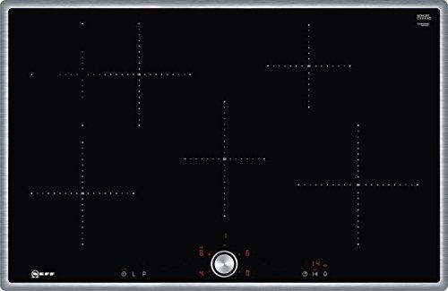 Neff T48BT00N0 - Cocina de inducción eléctrica (79,50 cm, vitrocerámica), color negro Marco de acero inoxidable TwistPad 80 cm Negro