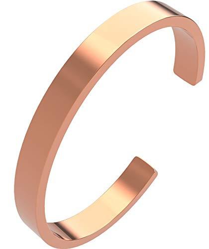 Pulsera de cobre natural, pulsera de cobre macizo, sin imán, diseño sencillo, 8 mm