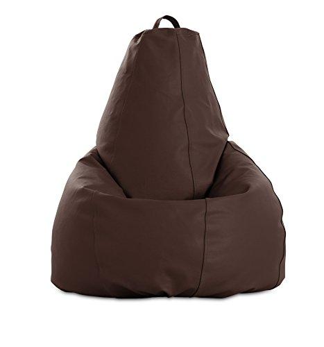 textil-home Puf - Pera moldeable XL Puff - 80x80x130 cm- Color Chocolate. Tejido Polipiel Alta Resistencia - Doble repunte - (Incluye Relleno Bolas Poliestireno).