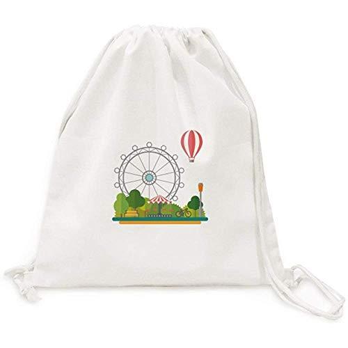 BOUIA Ferris Wheel Balloon Amusement Park Canvas Trekkoord Rugzak Reizen Shopping Tassen 36X43CM