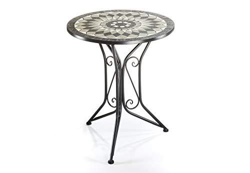 Kobolo Mosaiktisch Gartentisch Metall - H70 cm x D60 cm - grau