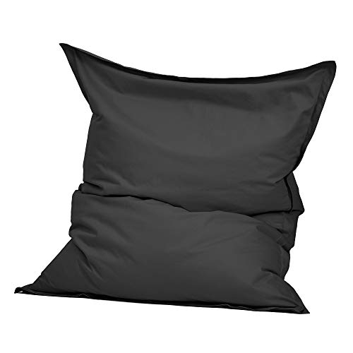 Green Bean © Square XXL Indoor Riesensitzsack aus Baumwolle 140x180 cm - 380 Liter EPS Perlen Füllung - waschbar, mit Innensack - Sitzkissen Bodenkissen Sitzsack für Kinder & Erwachsene - Dunkelgrau
