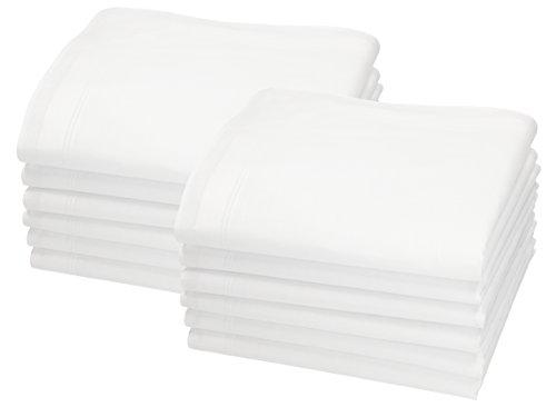 Betz Juego de pañuelos LEO 5 de tejido para caballeros 100% algodón 40x40 cm diseño 4 Color blanco 12 piezas
