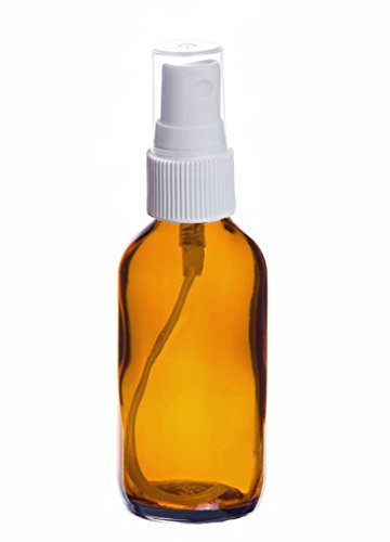 Perfume Studio Amber Glass Spray Bottle Set; 4 Amber Glass Sprayer Bottles and 1 Perfume Studio Oil Sample. (2 OZ WHITE SPRAY)