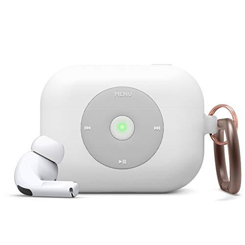 elago AW6 AirPods Pro Hülle Silikon mit Karabiner Kompatibel mit Apple AirPods Pro Ladecase Schutzhülle, Apple Classic Music Player-Hülle [US-Patent angemeldet] (Weiß)