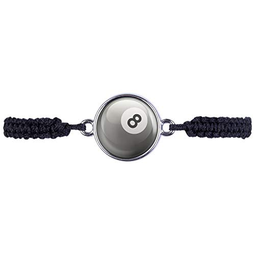 Mylery Armband mit Motiv 8-Ball Eight-Ball Pool-Billard Kugel Schwarz Weiß Silber 16mm