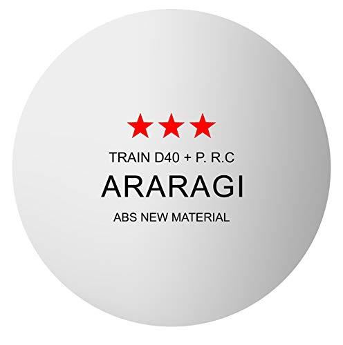 ARARAGI 卓球 ボール ピンポン玉 練習用 プラスチック 40+ トレーニングボール 60個入 (ホワイト・ロゴ有り)