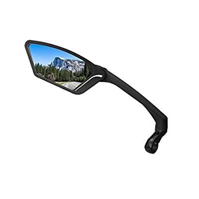MEACHOW New Scratch Resistant Glass Lens,Handlebar Bike Mirror, Rotatable Safe Rearview Mirror, Bicycle Mirror,(Blue Left Side) ME-010LB