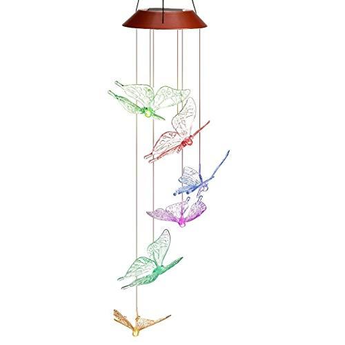 LFL Suspension Energie solaire LED Carillons du Vent Eclairage Exterieur Intérieur DEL Decoration Lumière avec detecteur Couleur Changeante Arbre Jardin IP44 Papillon
