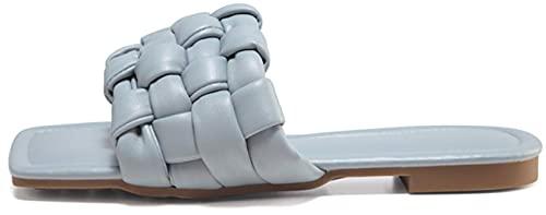 Zapatillas de mujer, sandalias planas trenzadas, sandalias cuadradas con punta abierta, correa deslizante, mulas para deslizamiento informal, zapatos de playa casuales ( Color : Blue , Size : 38EU )