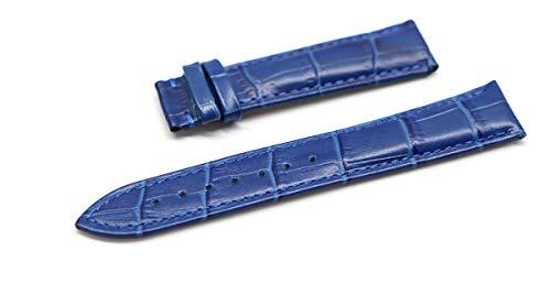 『腕時計 ベルト 21mm レザー クロコダイル型押し 牛 革 青 プッシュ式 Dバックル ピンク ゴールド l001bu-pd-p』の1枚目の画像