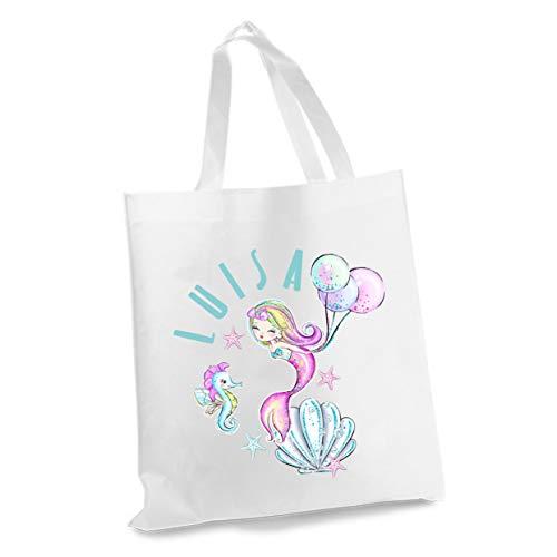wolga-kreativ Stofftasche Einkaufstasche Meerjungfrau Luftballon mit Name Stoffbeutel Kindertasche Sportbeutel Schuhbeutel Wäschebeutel Stoffsäckchen Jutebeutel Schultertasche Mädchen