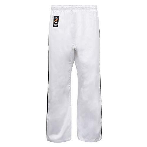 Playwell Arts Martiaux Full Contact Kickboxing Pantalon Blanc avec 2 Noir Rayures Coton - 170cm