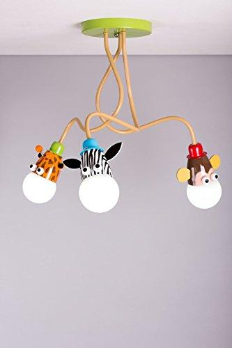 Lampadario da soffitto per bambini con giraffa, scimmia e zebra, unisex, per la meretta (lampadine a LED incluse)