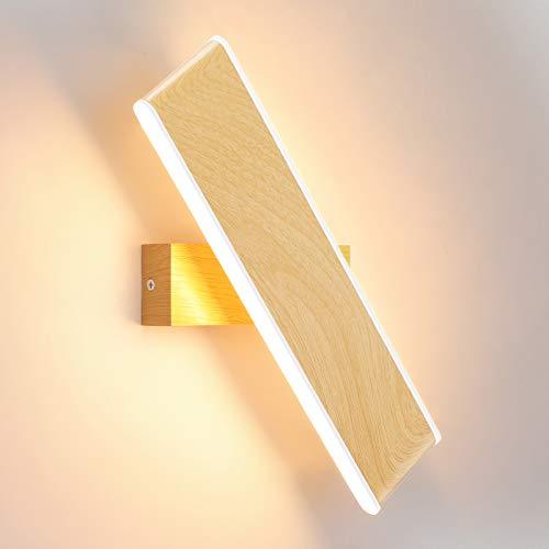 ENCOFT 12W Applique da Parete Interno a LED 330° Girevole Lampada a Muro Parete Illuminazione in Alluminio Luce Bianco Caldo 3000K 31cm per Camera da Letto Soggiorno Legno
