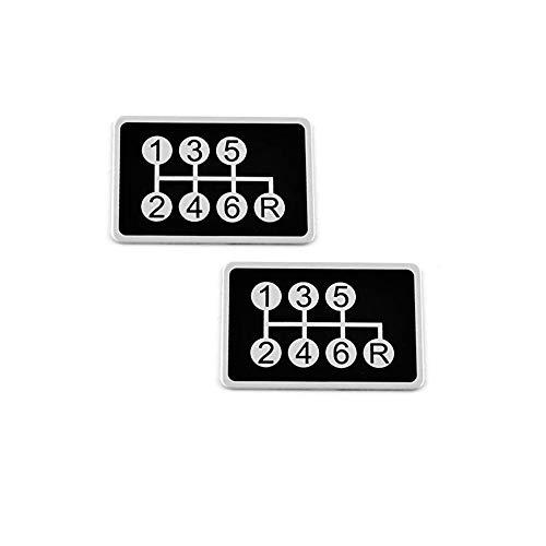 2PCS 54 x 36mm(2.13 x 1.42in) Aluminum Black 6 Speed Manual Transmissions Gear Shift Pattern Bumper Decal Stickers