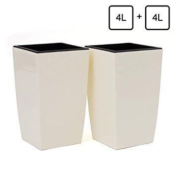 2x Pot de fleur Coubi 4L fond survéelé largeur 160 mm carré décoration creme