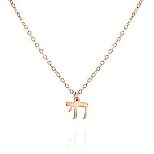 Rose Gold Chai Necklace - Designer Handmade Jewish Jewelry Protection Pendant - 16 inch + 2 inch extending chain