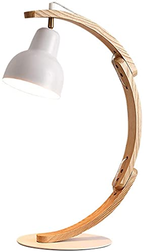 MWKL Lámpara de Mesa de Madera Vintage para Sala de Estar, Lámpara de Escritorio Retro E27 con Pantalla de Metal, Lámpara de Arco Lámpara de mesita de Noche rústica Protección Ocular