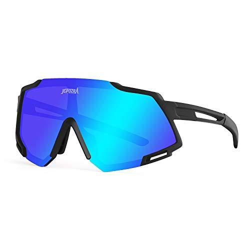JEPOZRA Gafas de Sol Deportivas Polarizadas Protección UV400 Gafas de Ciclismo con 3 Lentes Intercambiables para Ciclismo, Béisbol, Pesca, esquí, Funcionamiento(Black Blue)
