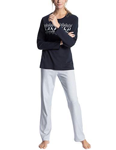 Calida Damen Family & Friends Zweiteiliger Schlafanzug, Blau (Dark Lapis Blue 339), 36 (Herstellergröße: XS)