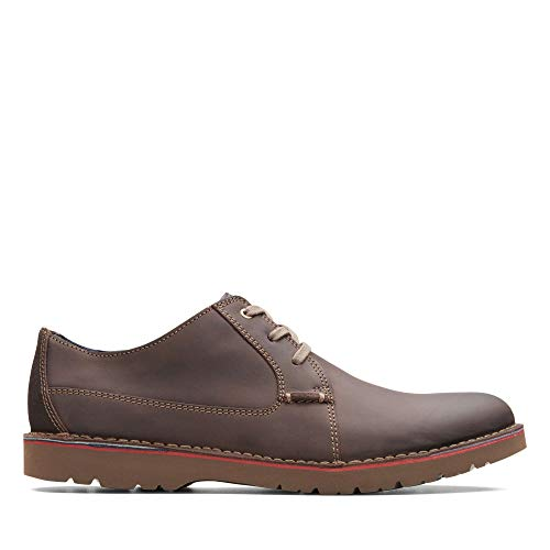 Clarks Vargo Plain, Zapatos de Cordones Derby, Marrón (Dark Brown Leather-), 46 EU