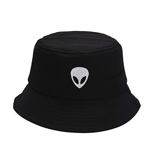 iSpchen Bucket Hat Faltbarer Fischerhut, Frauen Männer Baumwolle Angeln Strand Sonnenhüte, Sommer Outdoor Fischer Hip Hop Caps schwarz