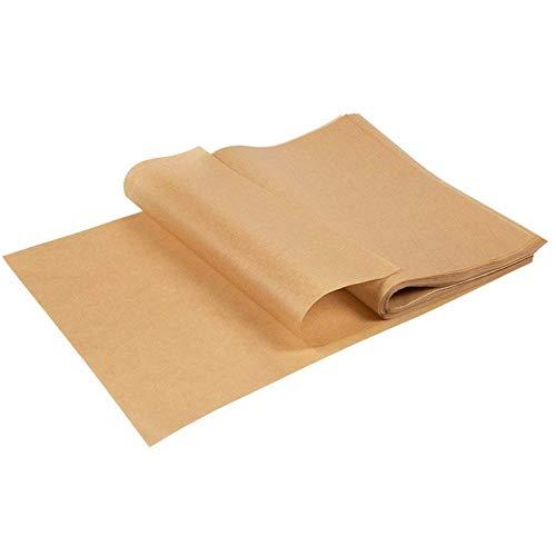 Papel de Horno,100 Pergamino Hojas Antiadherente de Papel para Hornear 35 x 25 cm pergamino para hornear papel a prueba de grasa sin blanquear precortado papel pergamino marrón para hornear cocinar