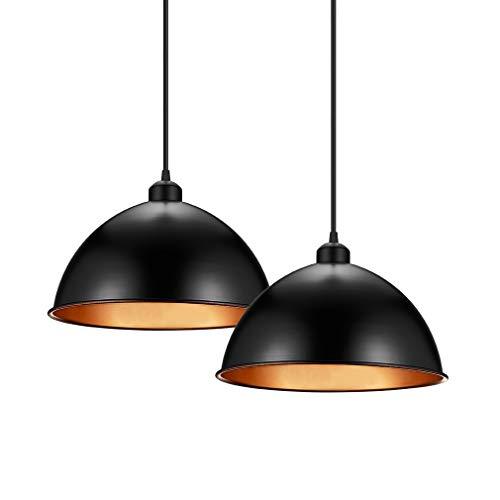 2er Pendelleuchte, Design Retro Schwarz Hängelleuchte, Industrielle Vintage LED Pendellampe für Wohnzimmer Esszimmer Restaurant Keller, Ø 30cm exkl. E27 max. 200W Leuchtmittel