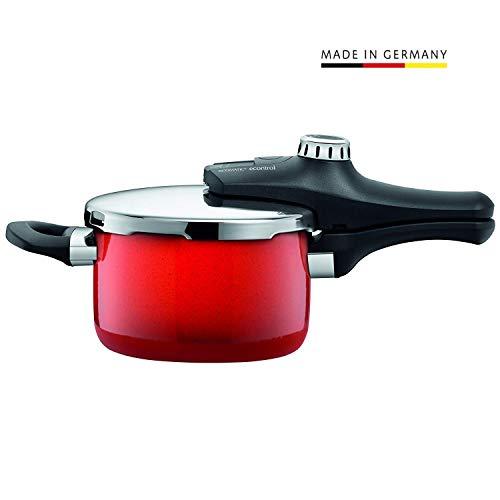 Silit Sicomatic econtrol Schnellkochtopf 2,5l ohne Einsatz, Silargan Funktionskeramik, 3 Kochstufen Einhand-Drehregler induktionsgeeignet, spülmaschinengeeignet, rot, Ø 18 cm