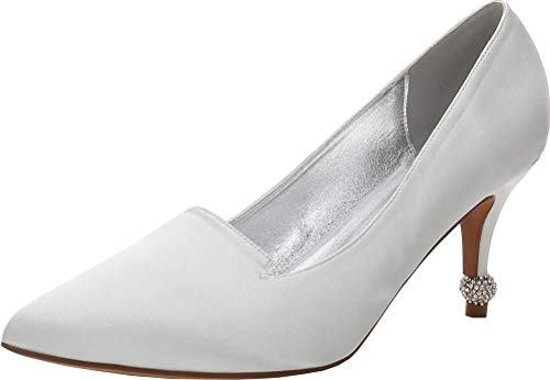 Zapatos de tacón para mujer, con diamantes de imitación, punta puntiaguda, para novia, diamantes de imitación, color Plateado, talla 38 EU