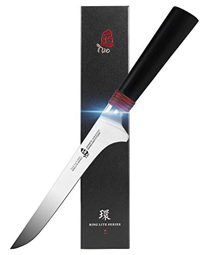 TUO Boning Chef Knife 6 inch - Kitchen Knives Professional Flexible Fillet Knives for Fish Chicken and Poultry - AUS-8 Stainless Steel with Pakkawood Handle - Ring Lite Series with Gift Box