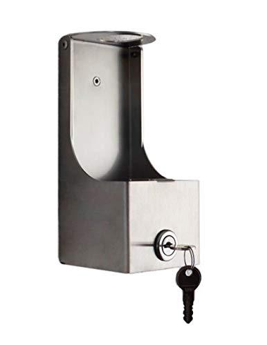 Abschließbare Wandhalterung aus Edelstahl für Pumpflaschen/Desinfektionsmittel-Spender incl. Edelstahlreiniger & Microfasertuch, Wandspender-Desinfektionsmittel diebstahlsicher Pumpflasche Hygiene